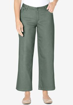 Wide-Leg Cropped Stretch Jean, PINE