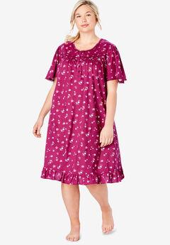 Short Floral Print Cotton Gown by Dreams & Co.®, POMEGRANATE FLOWERS