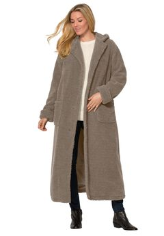 Hooded Berber Fleece Duster Coat, , hi-res
