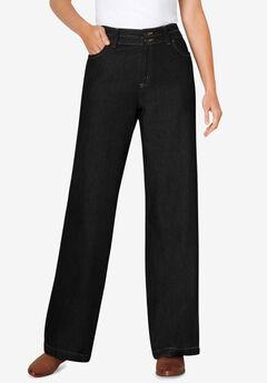Wide Leg Cotton Jean, BLACK