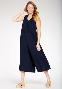 Sleeveless pintuck palazzo jumpsuit, NAVY, hi-res