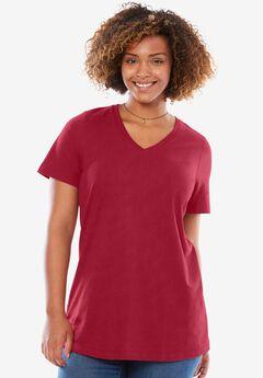 Perfect V-neck tee, CLASSIC RED, hi-res