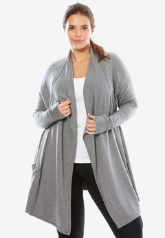 Wrap Cardigan, GREY MELANGE, hi-res