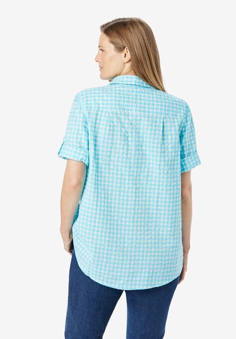 Short Sleeve Button Down Seersucker Shirt Plus Sizeshirts