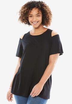 Short sleeve cold shoulder tee, BLACK, hi-res