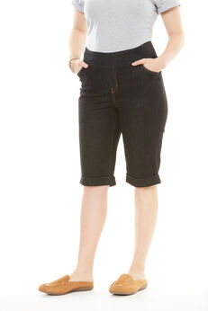 Smooth Waist Bermuda Jean Short, BLACK DENIM