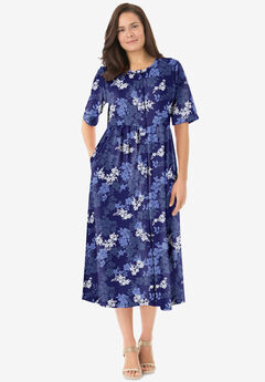 Button-Front Essential Dress, NAVY GRAPHIC BLOOM