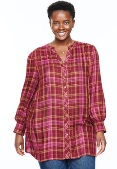 Plaid Button-Front Tunic,