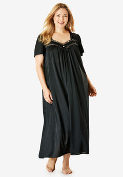 Long Silky Lace-Trim Gown by Only Necessities®,