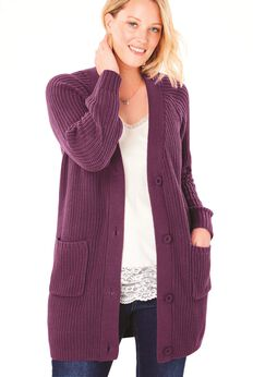 Button-Front Shaker Cardigan,