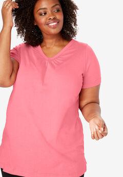 Perfect Shirred V-Neck Tunic, TEA ROSE
