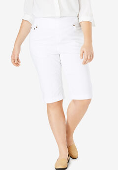 Smooth Waist Bermuda Jean Short, WHITE