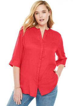 Flowy Blouse, CORAL RED, hi-res