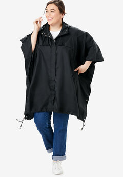 Packable water-resistant rain cape with zip top bag, BLACK, hi-res