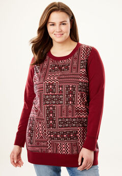 French Terry sweatshirt, RICH BURGUNDY GEO PATCH