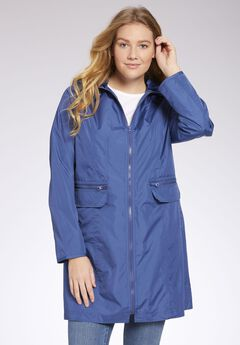 Zip-front packable rain jacket, ROYAL NAVY, hi-res