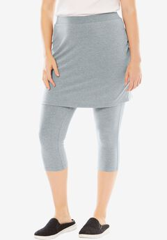 Stretch Cotton Skirted Capri Legging, MEDIUM HEATHER GREY, hi-res
