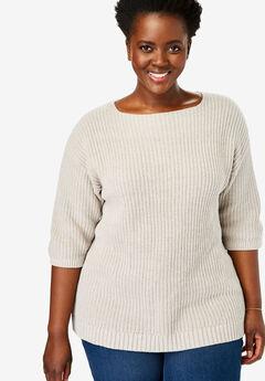 Three-Quarter Sleeve Pullover Sweater,