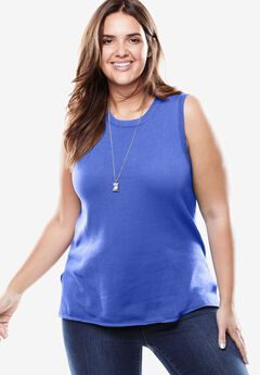 Fine gauge sleeveless crewneck sweater, ROYAL PERIWINKLE, hi-res