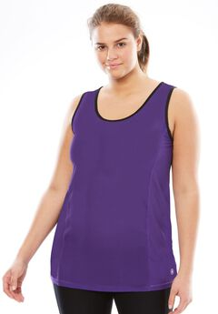 Peached knit tank top by FullBeauty SPORT®, ROYAL GRAPE, hi-res
