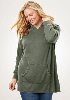 Hooded Thermal Sweatshirt, SAGE GRASS