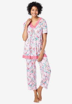 Lace-Trim Short Sleeve Pajamas,