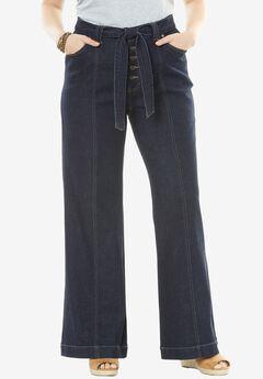 Wide Leg Stretch Belted Jean, INDIGO, hi-res