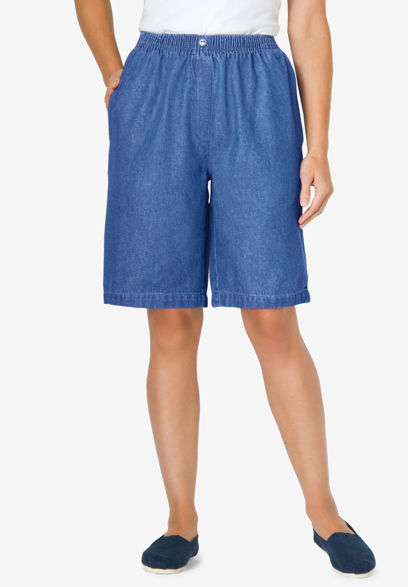 Woman Within S  12W  Cotton Blend Jersey  Elastic Waist Cargo Shorts Plus  Berry