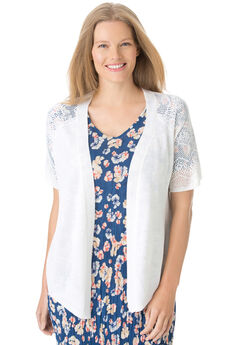 Open front short sleeve pointelle cardigan sweater, WHITE, hi-res