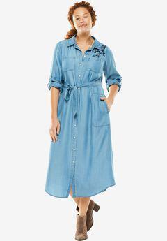 Denim Shirt Dress, BLUE FLORAL EMBROIDERY, hi-res
