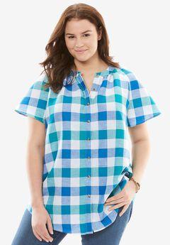 Flutter Sleeve Linen Shirt,
