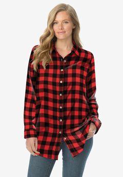 Classic Flannel Shirt, VIVID RED BUFFALO PLAID