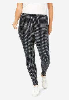 Stretch Cotton Printed Legging, BLACK DOT