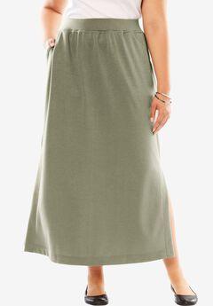 Maxi stretch ponte knit skirt,