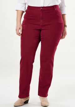 Straight Leg Stretch Jean, RICH BURGUNDY