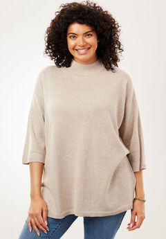 Fine Gauge Mock Neck Tunic Sweater,