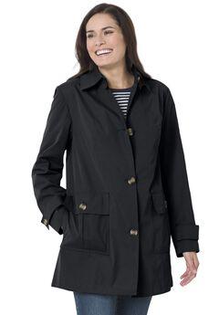 A-line button front jacket, BLACK, hi-res