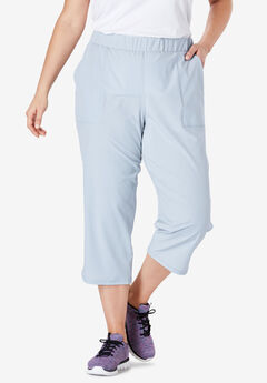 Stretch Woven Tulip Hem Capri Pant by FULLBEAUTY SPORT®,