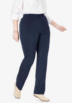 Elastic-Waist Straight Leg Chino Pant,