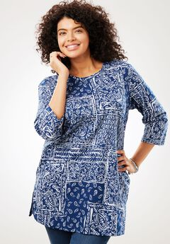 Three-Quarter Sleeve Perfect Print Tunic, EVENING BLUE PATCHWORK, hi-res