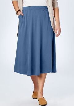7-Day Knit A-Line Skirt, DUSTY INDIGO
