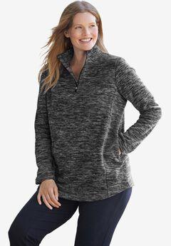 Microfleece Quarter-Zip Pullover, BLACK MARLED