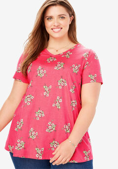 Perfect Printed V-Neck Tee, VIBRANT ROSE FLORAL