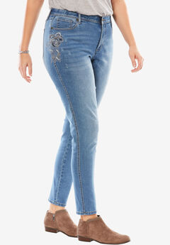 No-gap skinny jeans, FLORAL EMBROIDERY, hi-res