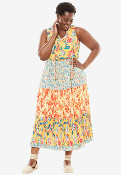 A-line maxi dress, BANANA PRINT, hi-res