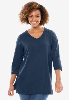 Perfect Three-Quarter Sleeve V-Neck Tunic, NAVY