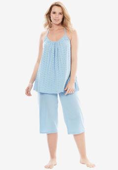 Breezy Eyelet Knit Tank & Capri PJ Set by Dreams & Co.®, CRYSTAL SEA, hi-res