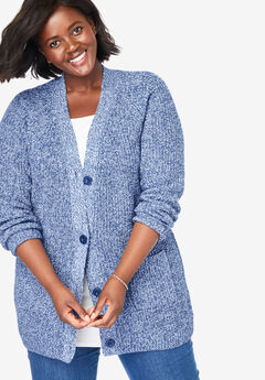 Button Front Shaker Cardigan, ROYAL NAVY WHITE MARLED