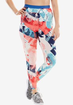 Capri pants by FullBeauty SPORT®, EVENING BLUE GRAPHIC TROPICANA