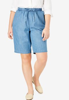 Chambray Drawstring Shorts,
